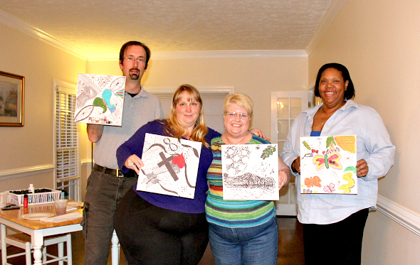 Participants showcase their creation in ZENTANGLE Paint Night at ArtInspired Private Studio.